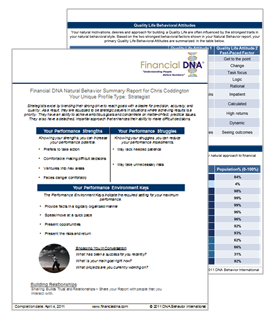 DNA Behavior 2 Page Report, Financial Behavior Report, Financial Behavior Summary